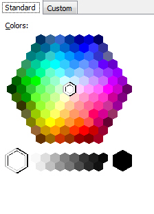 Standard tab for colours