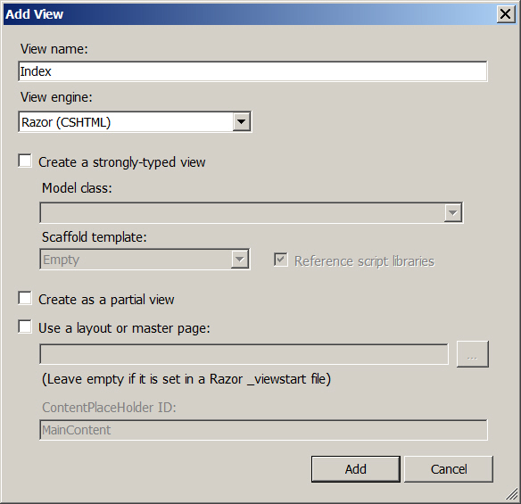 Add view dialog box