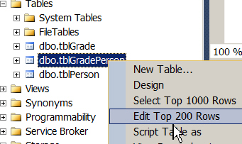 Editing the tblGradePerson table