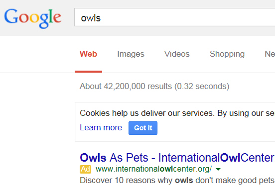 Owl search in Google