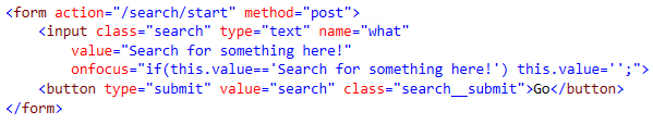 HTML for search box