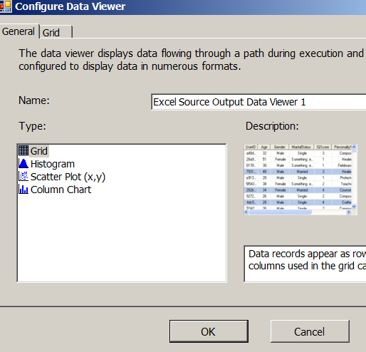 Data viewer dialog box