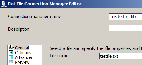 File name for flat file