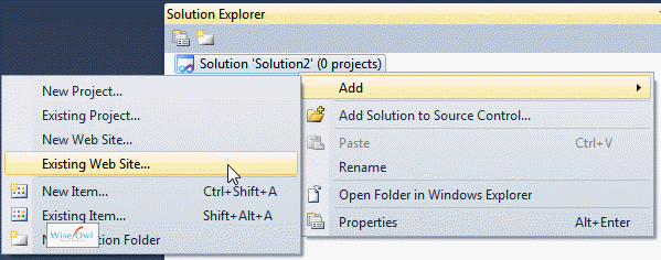 Adding a new website using Solution Explorer