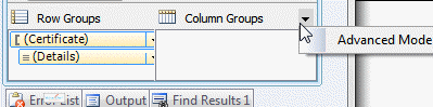Choosing Advanced Mode in the Grouping Pane