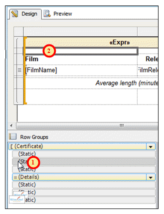 Changing properties of static row