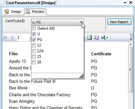 SQL Server Reporting Services 2008 R2 exercise - Parameters (image 1)