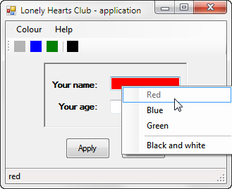 Visual Basic 2010 exercise - Menus and toolbars (image 1)
