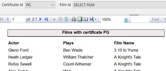 Films for given certificate