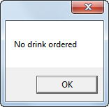 No drinks ordered message