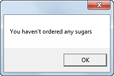 No sugars specified message