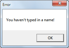 Error message if name blank
