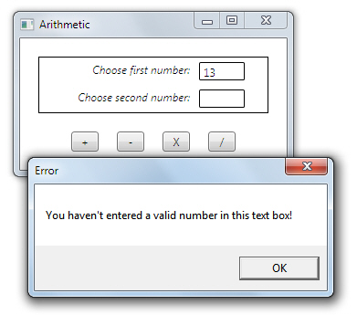 Error message if numbers invalid