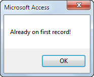Error message on first record