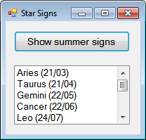Star signs with dates
