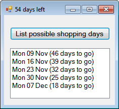 Shopping days left