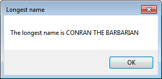 Message box showing longest name