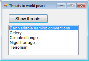 List of threats
