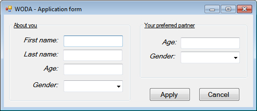 Dating agency application form