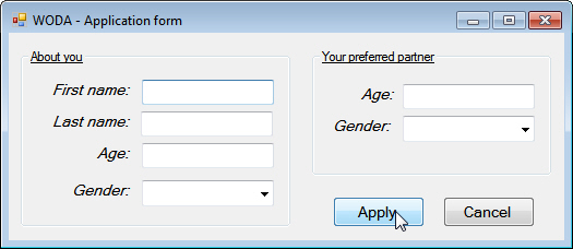Application form for dating agency