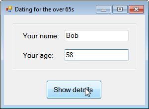 Oldies dating agency form