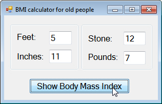 Form with BMI button