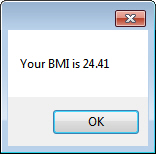 Message box showing BMI
