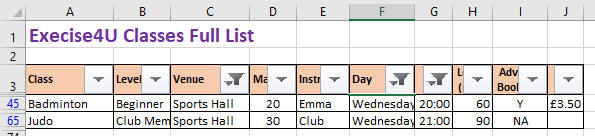 Using filtering in Excel