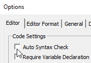 Disable syntax messages